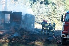 Pożar drewnianego domku w lesie na ul. Torfowej
