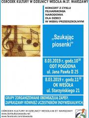 """Koncert Filharmonii Narodowej pt. """"Szukając piosenki"""""""